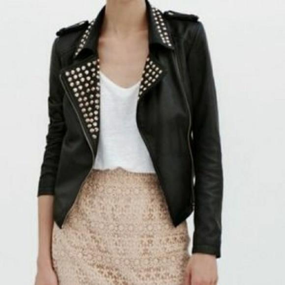eb7497f7 Zara Jackets & Coats | Nwot Studded Leather Jacket Xs | Poshmark